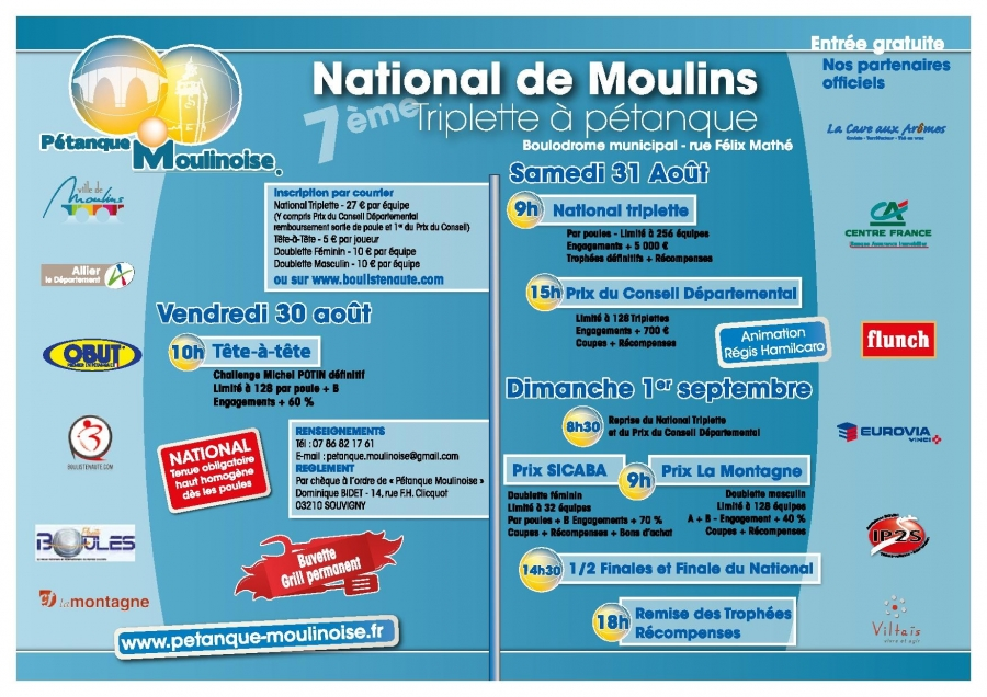 Re: {INSCRIP en LIGNE} 7e National de Moulins - 30/31 Août & 1er Sept - Qualif'Masters