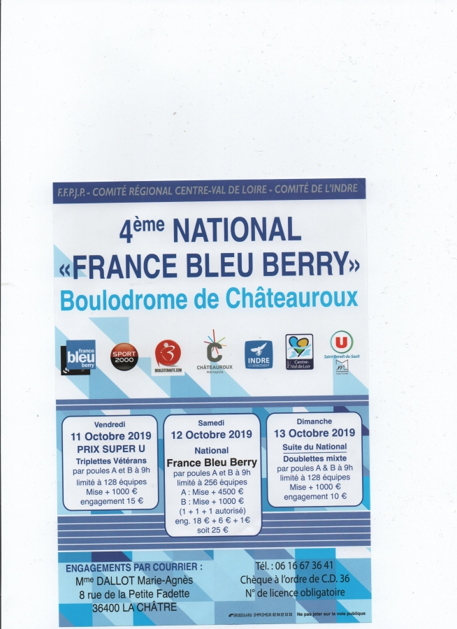 Re: 4e National France Bleu Châteauroux - 12 & 13 octobre 2019