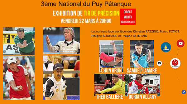Re: [WEBTV HD Prono] 3ème National du Puy Pétanque du 22 au 24 Mars 2019