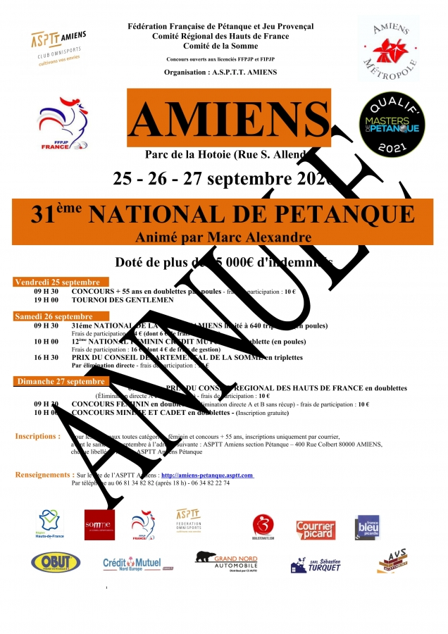 Re: 31e National d'Amiens le 25, 26 et 27 Septembre 2020