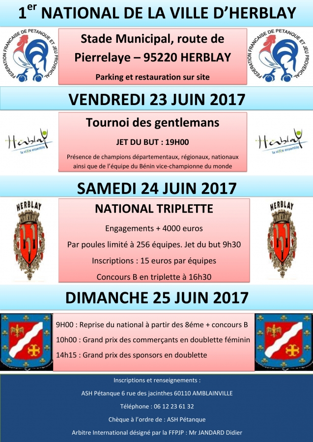 Re: 1er National de la ville d'Herblay (95) le 24 et 25 juin 2017
