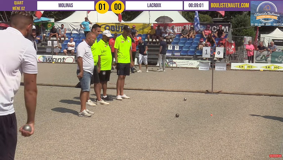 Vidéo Replay International à pétanque de Bastia 2019 : Quart ROCHER vs T MOLINAS