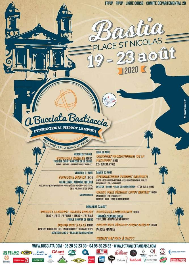International à pétanque de BASTIA - Du 19 au 23 août 2020 ...